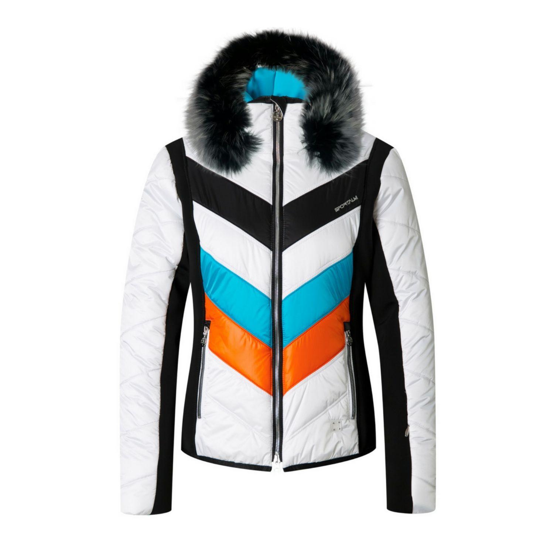 Bunda SPORTALM Rubia Ice s kapucňou z pravej kožušiny Biela L