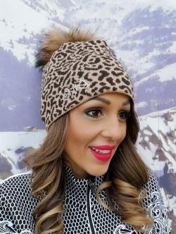 Zimná čiapka EISBÄR Animal Fur Crystal MÜ hnedá