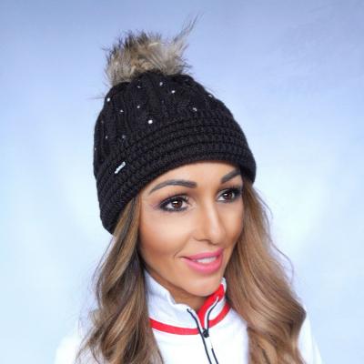 Zimná čiapka EISBÄR Nana Fur Crystal s brmbolcom z pravej kožušiny