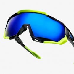 Okuliare 100% Speedtrap Polished Black/ Matte Neon Yello w/ Electric Blue Mirror