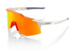 Okuliare 100% Speedcraft Tall White/Neon Orange w/ HiPer Red Multilayer Mirror