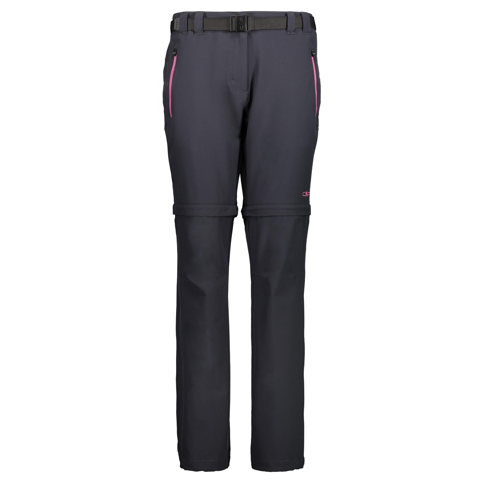 Dámske turistické nohavice CAMPAGNOLO Woman Zip Off Black/Pink Čierno-ružová 46