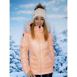 Bunda ICEPEAK Cindy IA Orange s pravou kožušinou na kapucni