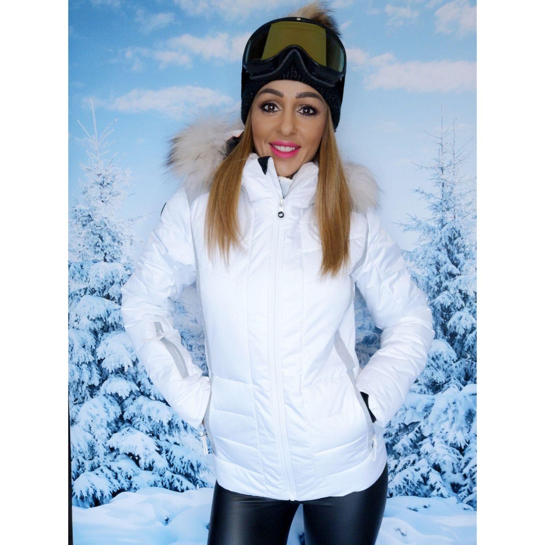 Bunda ICEPEAK Cindy IA White s pravou kožušinou na kapucni Biela XL