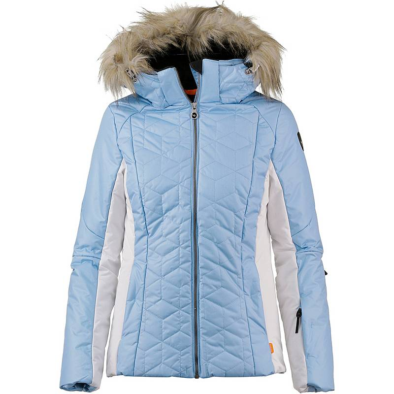 Dámska bunda ICEPEAK Claudia IA Blue s pravou kožušinou na kapucni Modrá 46