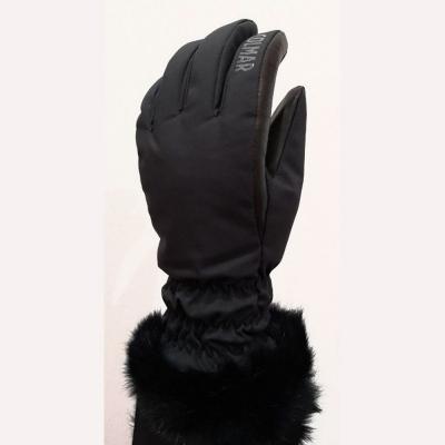 Dámske lyžiarske rukavice COLMAR Sapporo Black s pravou kožušinou
