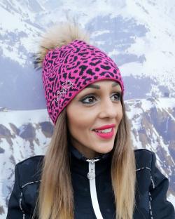 Zimná čiapka EISBÄR Animal Fur Crystal MÜ pink black