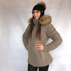 Bunda LUHTA INTA Brown s kapucí z pravé kožešiny