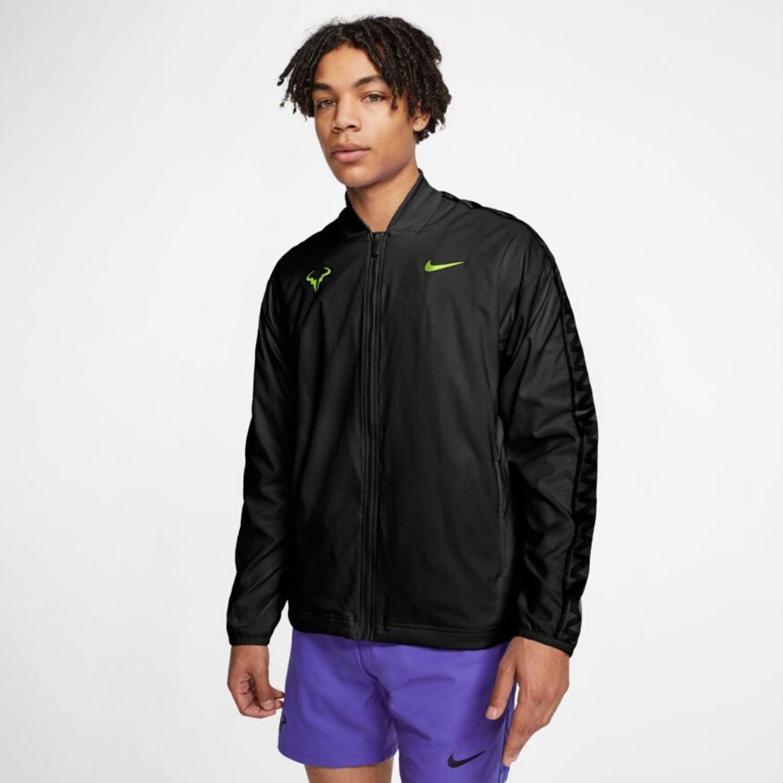 Pánska tenisová bunda NIKE Rafa Black / Volt Čierna XL