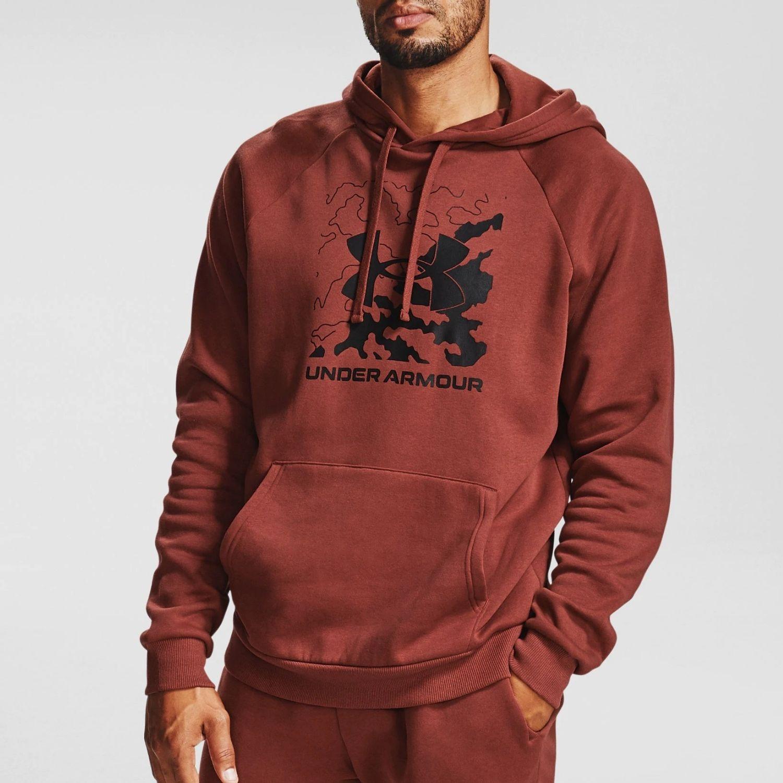 Mikina UNDER ARMOUR Rival Fleece Box Logo Brown Červená XL