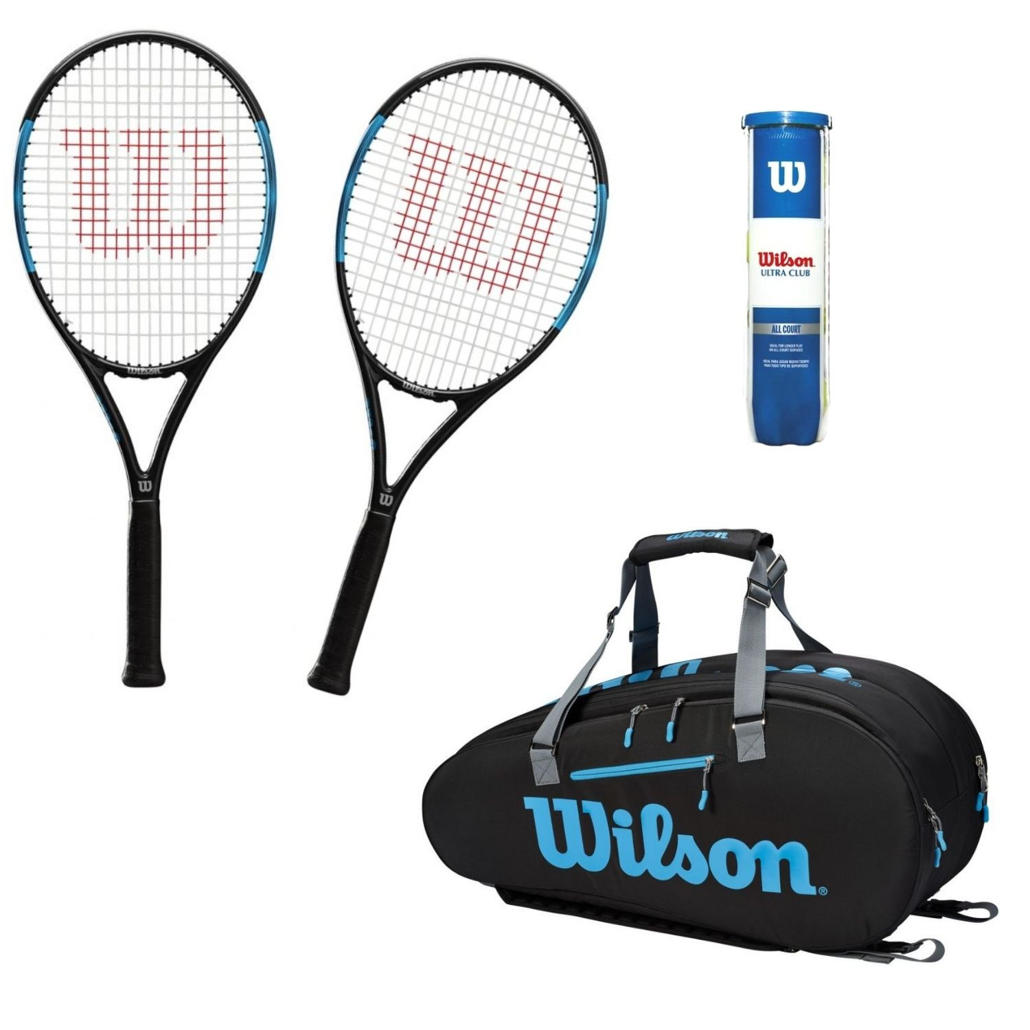 Tenisový set WILSON Ultra Power PRO 105  Vak Ultra 9pack  Loptičky Ultra Club All Court Modrá L2