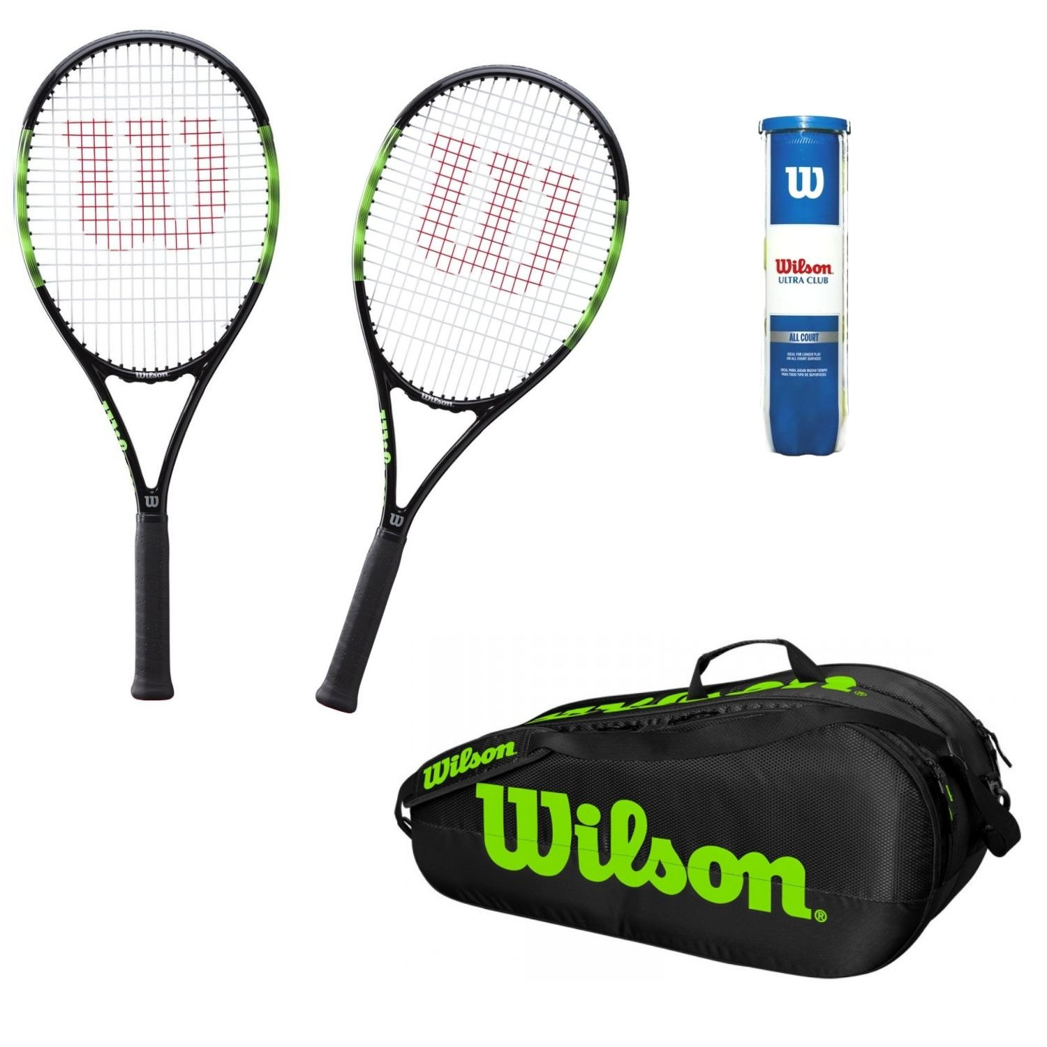 Tenisový set WILSON Blade Feel Team 103 WO  Vak Team 2 Comp  Loptičky Ultra Club All Court Zelená L2