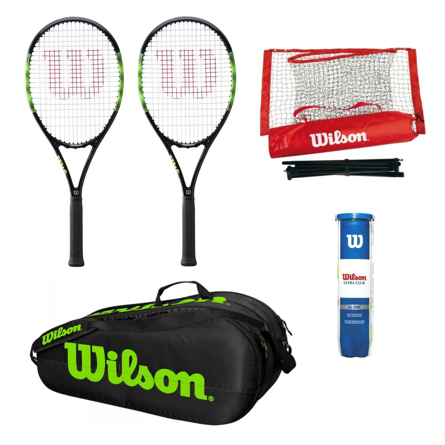 Tenisový set WILSON Blade Feel Team 103  Vak Team 2 Comp  Sieť Starter EZ Tennis Net  Loptičky Ultra Club All Court Zelená L2