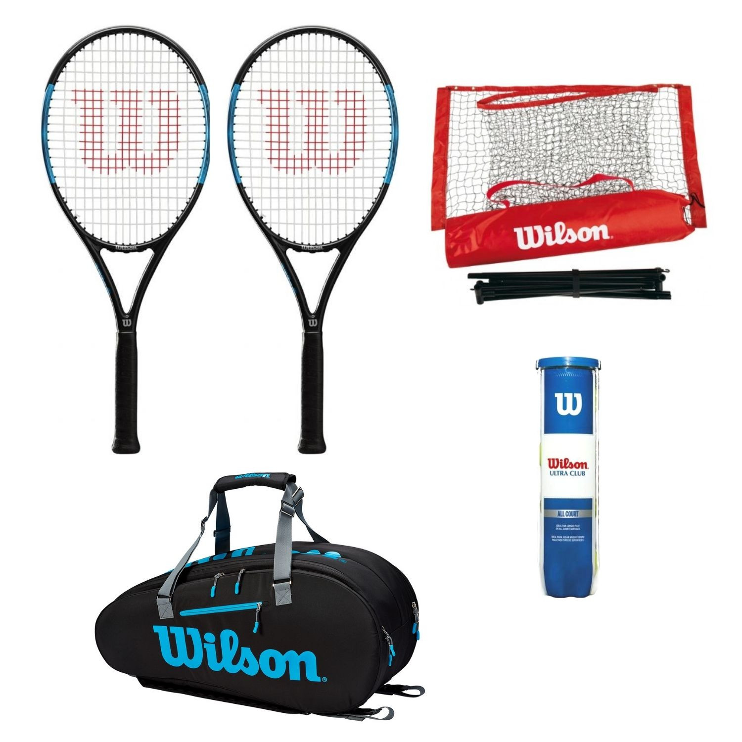 Tenisový set WILSON Ultra Power PRO 105  Vak Ultra 9pack  Sieť Starter EZ Tennis Net  Loptičky Ultra Club All Court Modrá L2