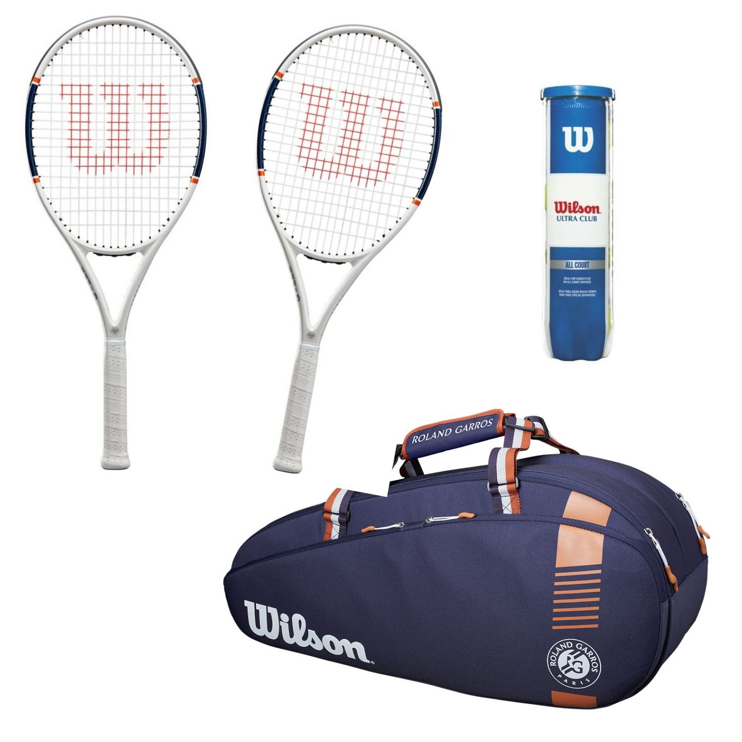 Tenisový set WILSON Roland Garros Triumph  Vak Team 6pack  Loptičky Ultra Club All Court Modrá L2