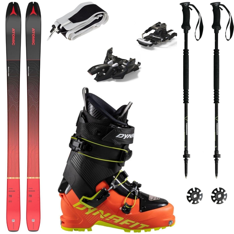 Skialpový set ATOMIC Backland 78 s pásmi + viazanie + lyžiarky Dynafit + palice