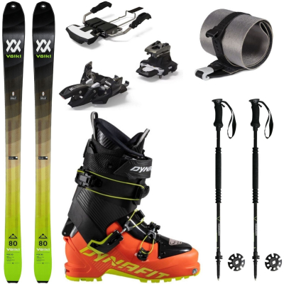 Skialpový set VÖLKL Rise 80 s pásmi + lyžiarky Dynafit + palice