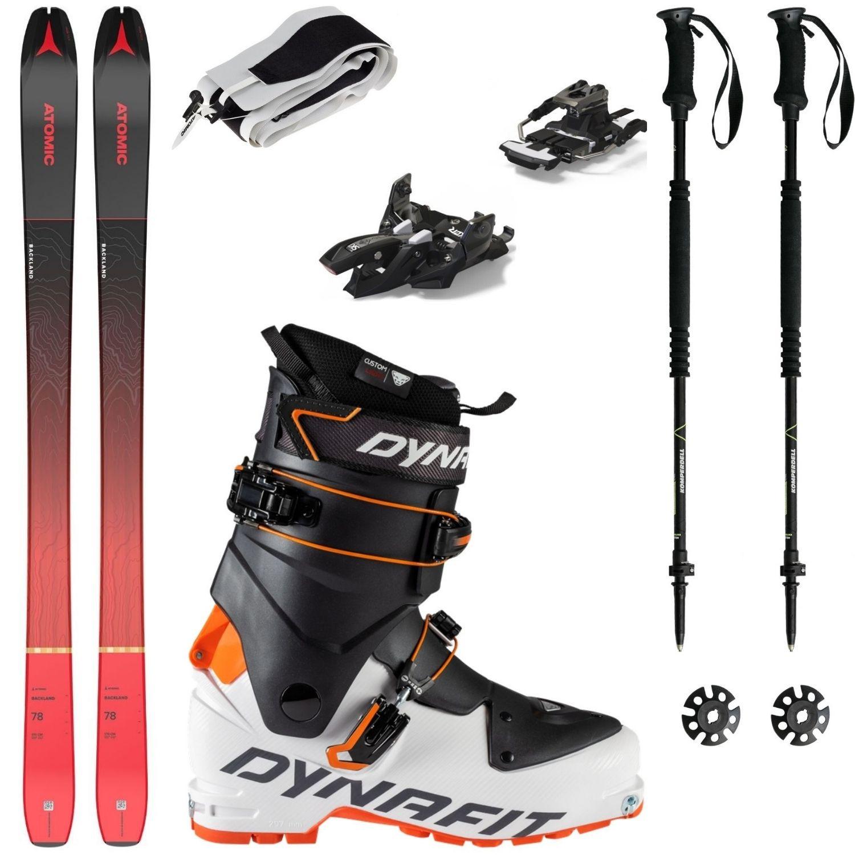 Skialpový set ATOMIC Backland 78 s pásmi + viazanie + lyžiarky Dynafit Speed + palice